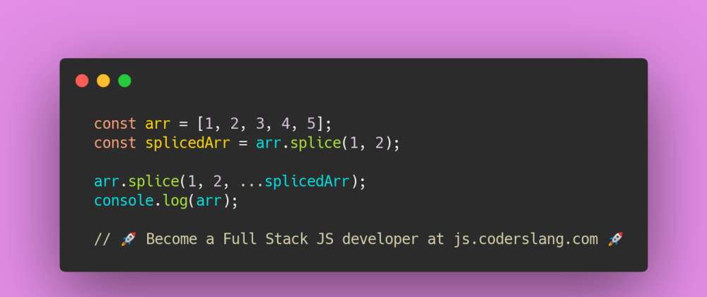 Cover image for JavaScript Interview Question #23: Array.splice