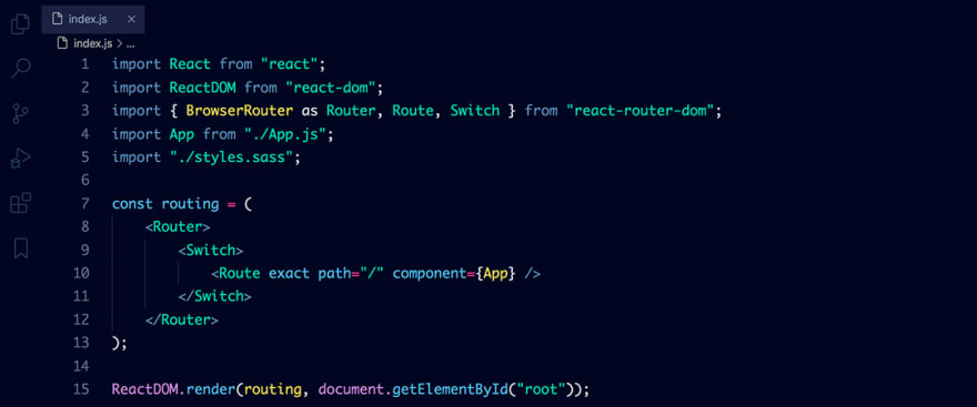 React code snippet with the Atlantic Night theme