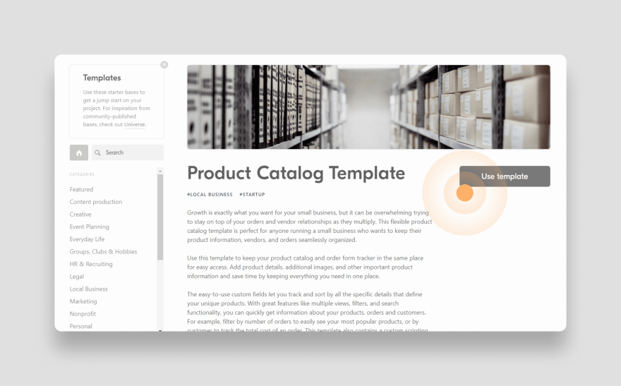 Airtable Product Catalog Template