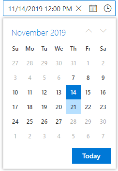 Pop-up Calendar in DateTime Picker.