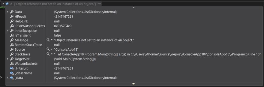 NullReferenceException in Visual Studio