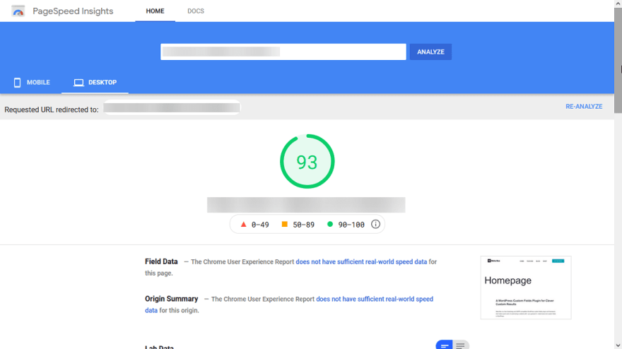 The loading speed of the website built with Gutenberg