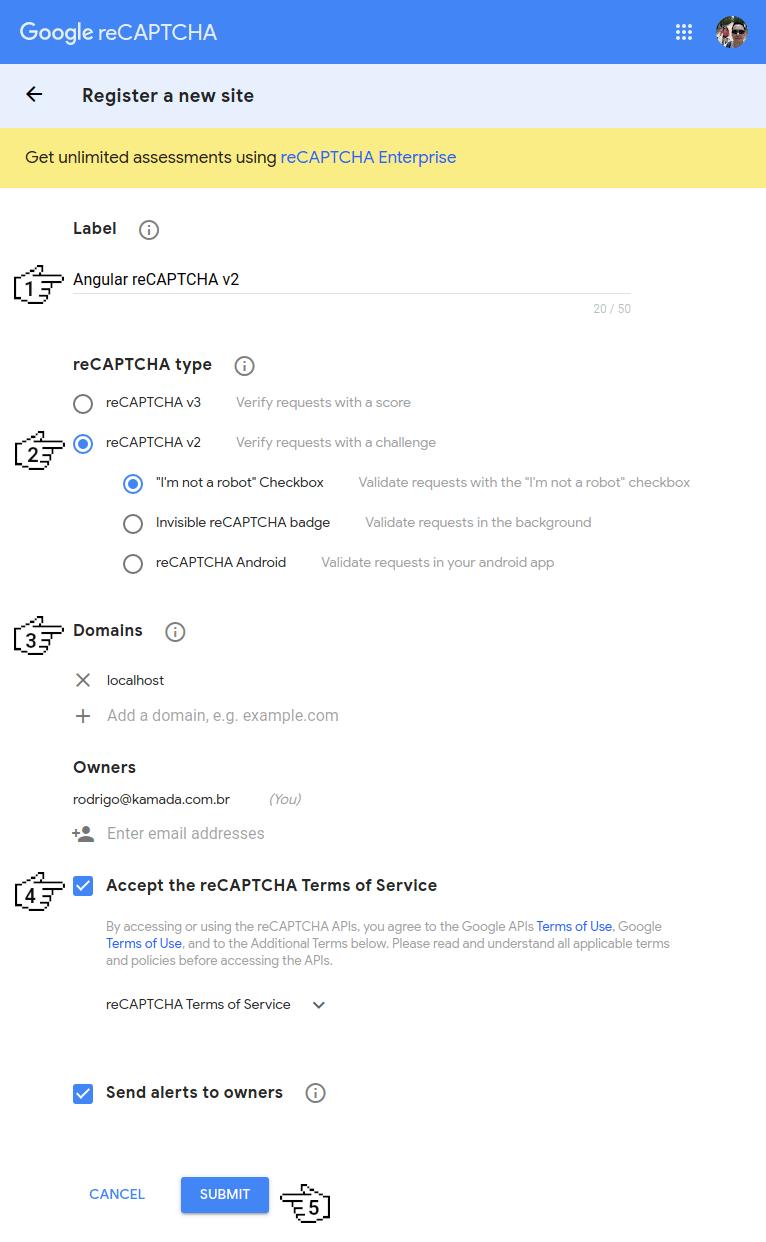 Google reCAPTCHA - Register a new site