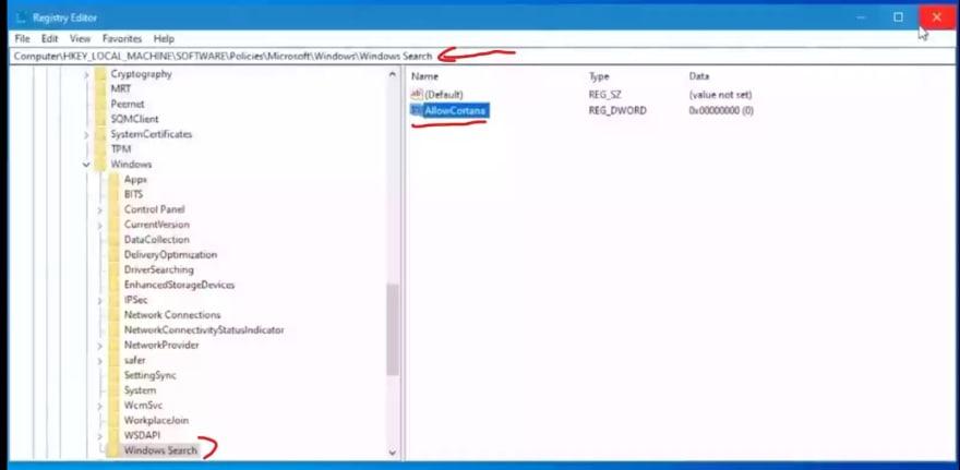 registory editor disable cortana in windows 10