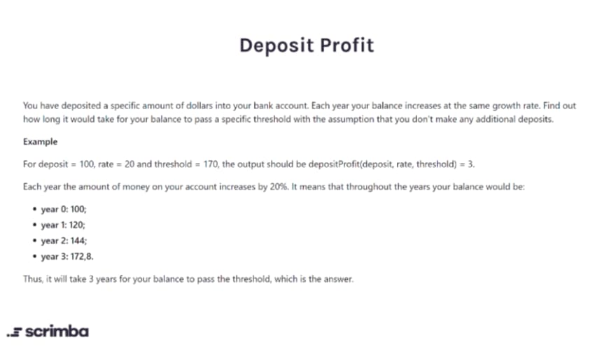 deposit profit challenge