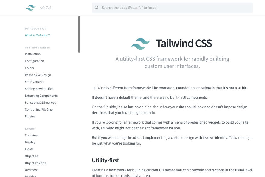 Early pictures of the Tailwind website