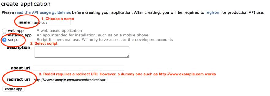 Register a Reddit app