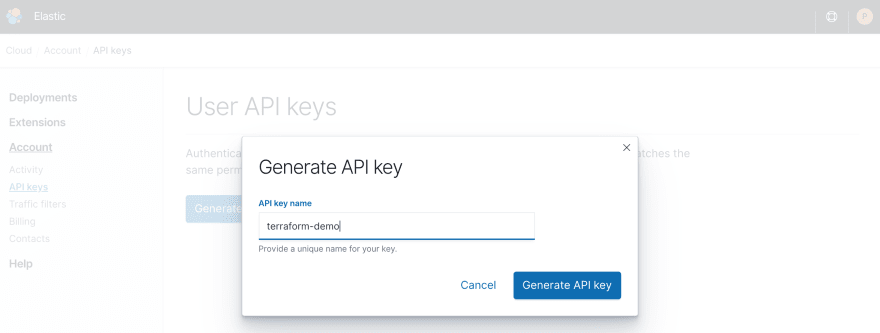 Generate an API key