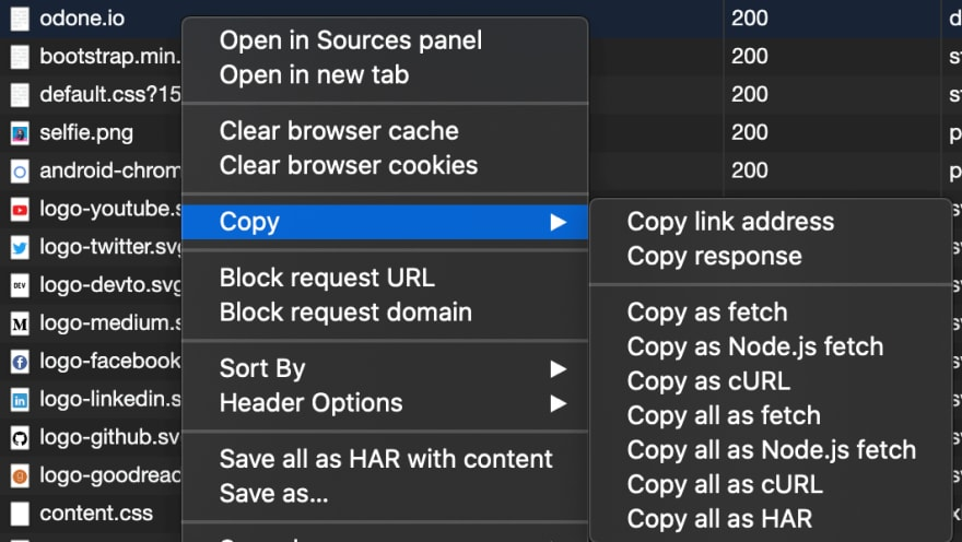 Screenshot of the menu that appears when right-clicking a request in the dev tool's network tab
