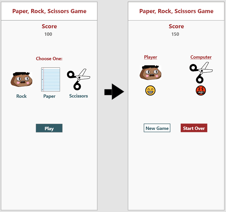 Before and after image of the wireframe with colors and design added
