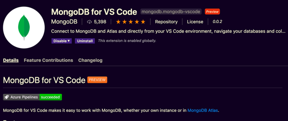 Cover image for New MongoDB Extension for VS Code