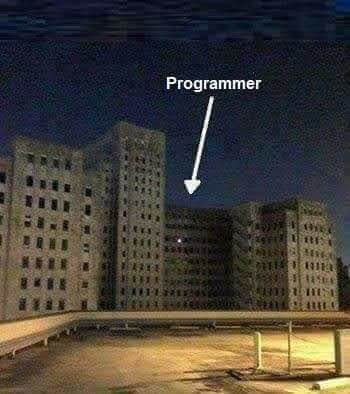"Photo of a building at night with all the lights of in the windows except one, with an arrow pointing to it and labelled ""Programmer"""