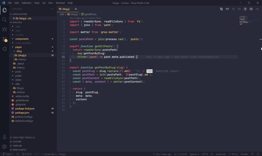 Screenshot of visual studio code editor with Monokai Pro theme