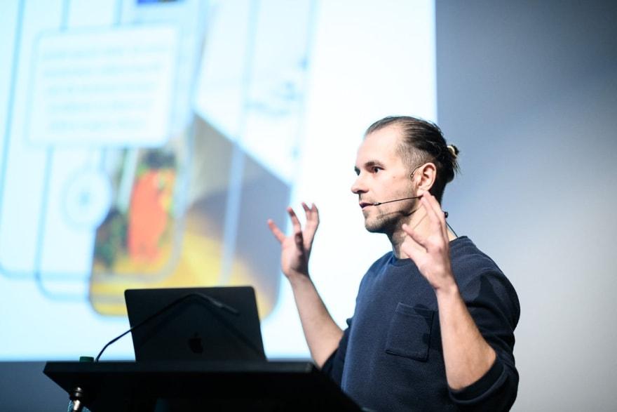 Nik presenting a talk