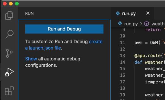 The Run menu in VSCode