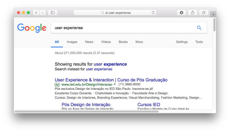 Google Search correction feature