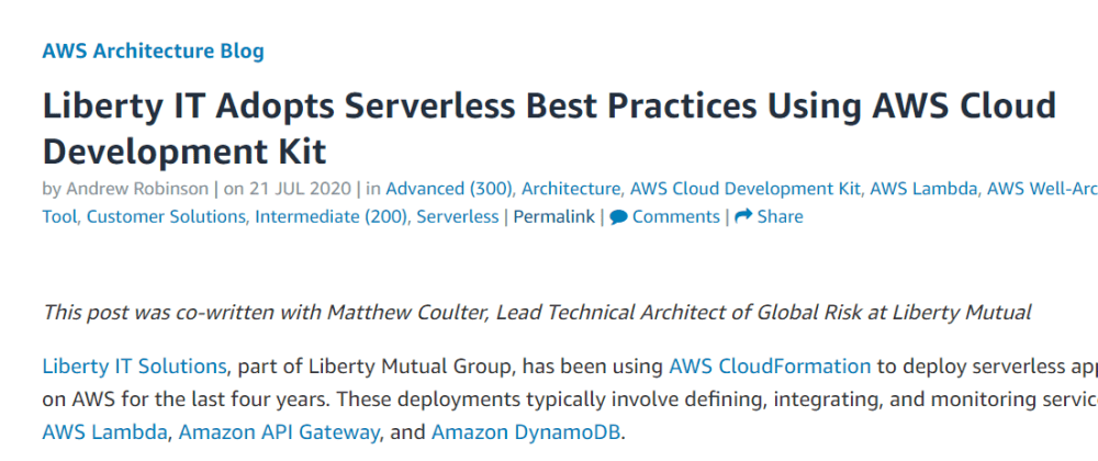 Cover image for CDK Patterns on the AWS Architecture Blog