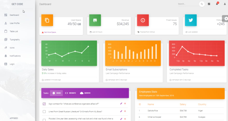 Flask  Dashboard - Material Design.