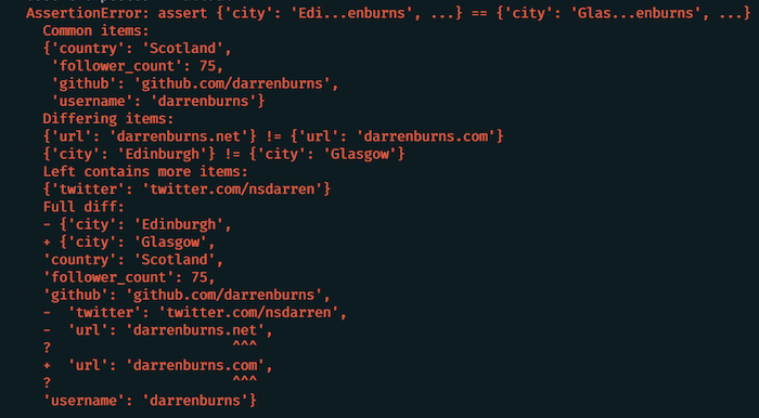 Debug Faster With Colourful Diffs For Your Failing Tests
