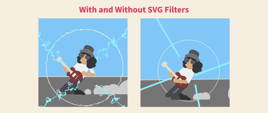 Slash with and without SVG Filters