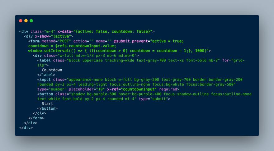 Form with Alpine.js
