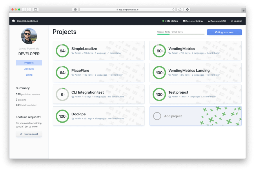 simplelocalize project list