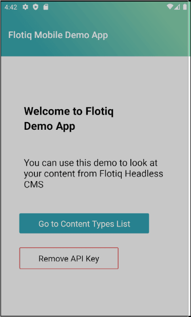Flotiq Mobile Expo home screen, after login