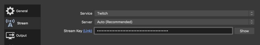 Adding Twitch API key to OBS stream preferences