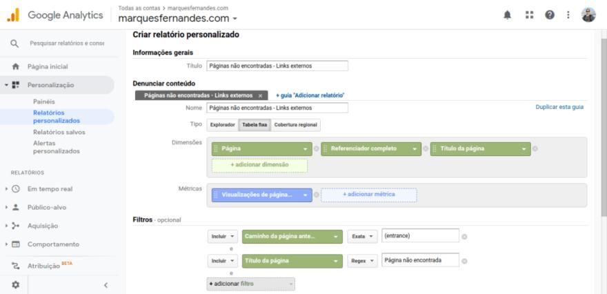 Relatório customizada para encontrar erros 404 causados por links EXTERNOS