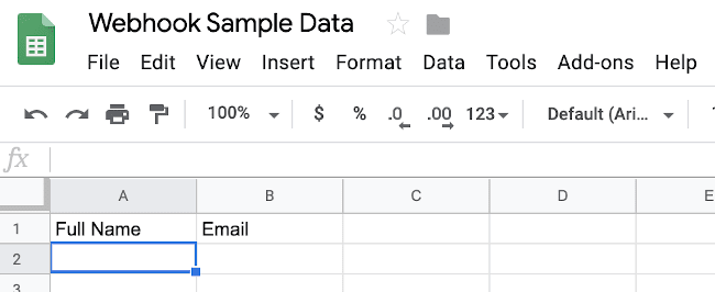 empty Google Sheet with headers
