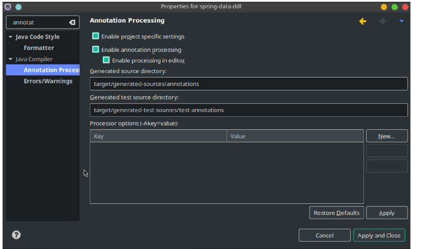 Configure Annotations Processing