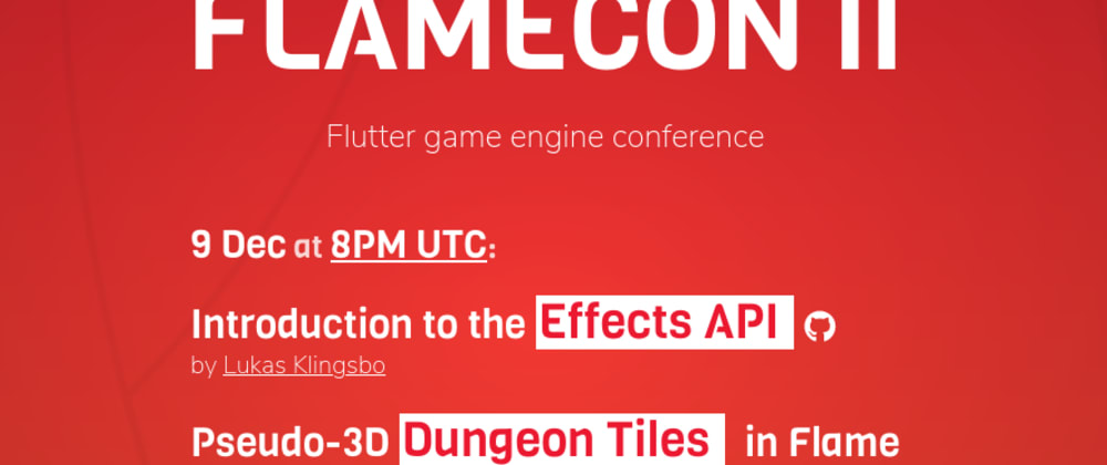 Cover image for FlameCon: Talks about Flutter's largest game engine