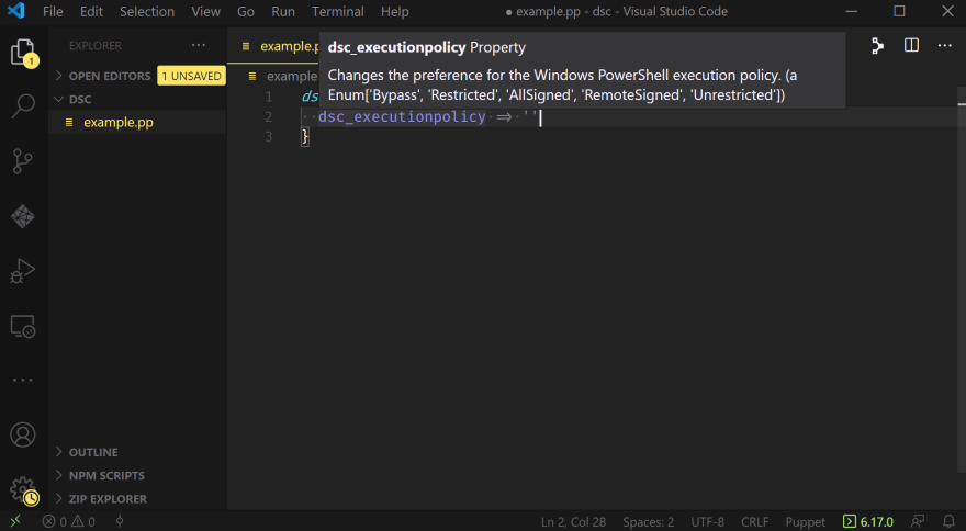 A VSCode window showing an empty declaration for 'dsc_executionpolicy' with the mouse hovering over that key, displaying a tooltip which includes the documentation and valid values for the property.