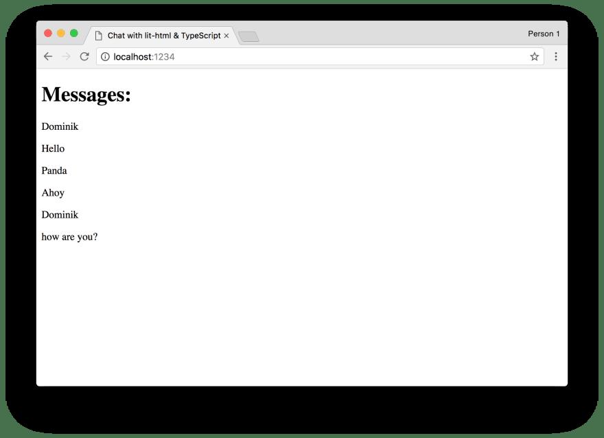 Screenshot of mock messages displayed