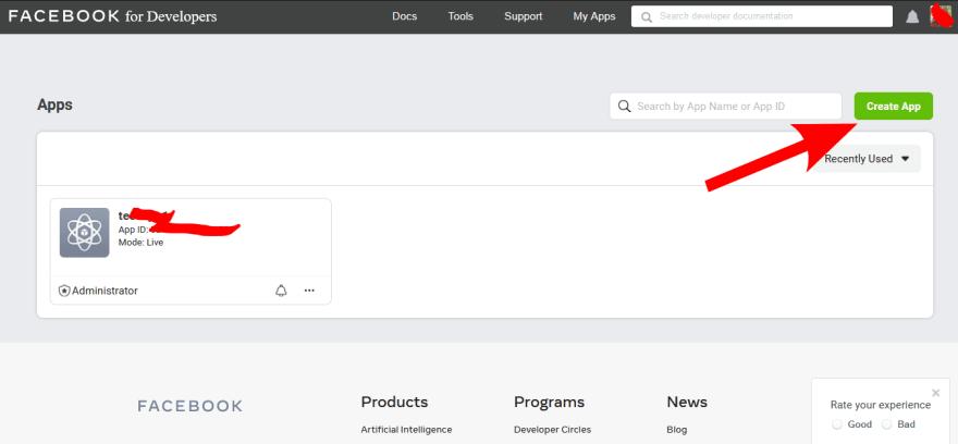 click on create an app