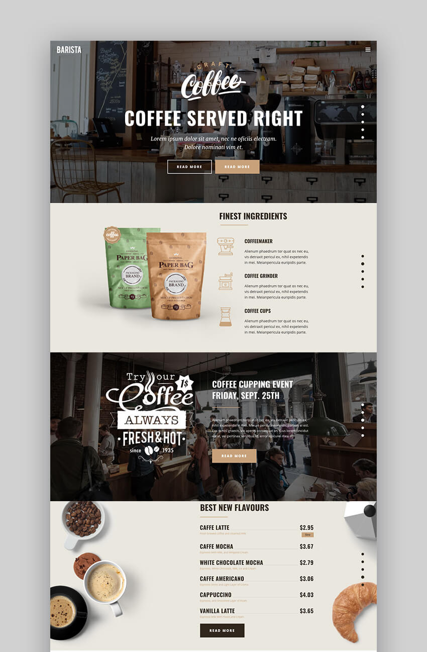 Barista creative design restaurant WordPress theme
