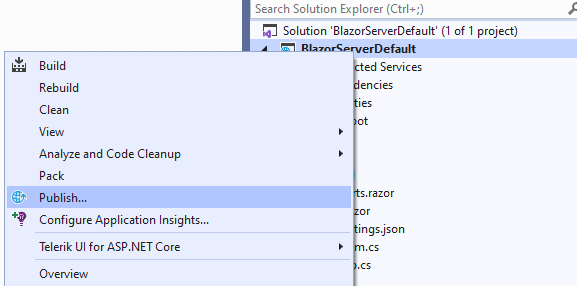 Right-click the project and click Publish in the context menu