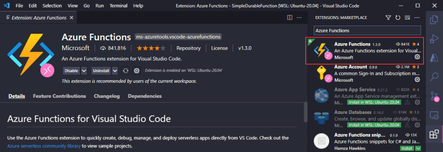 VS Code Extension for Azure Functions