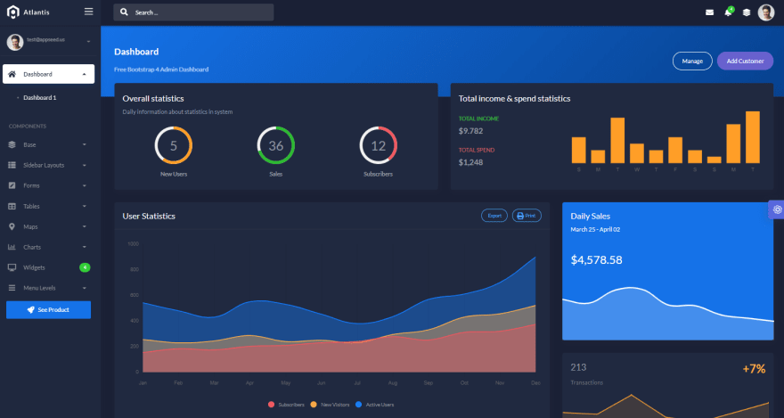 Django Dashboard Atlantis - Main Dashboard Page.