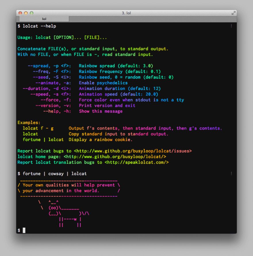 Ruby gem - lolcat