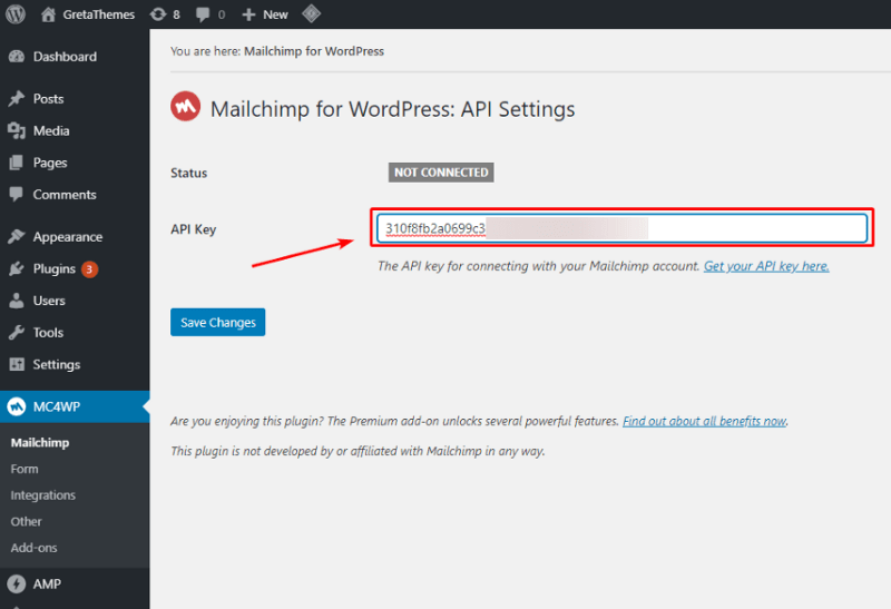Enter the key to the Settings part of the MailChimp plugin