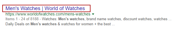 Piece of a Google search page result with the highlighted example title with red borders