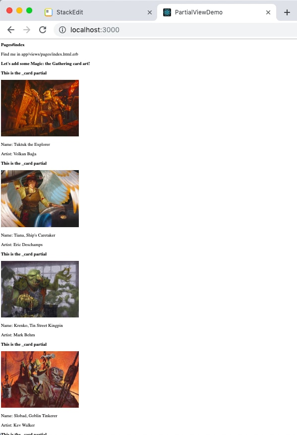 screenshot showing four different cards being rendered, with the browser cut off but indicating that more are rendered underneath