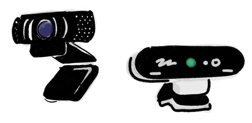 artistic illustration of webcams
