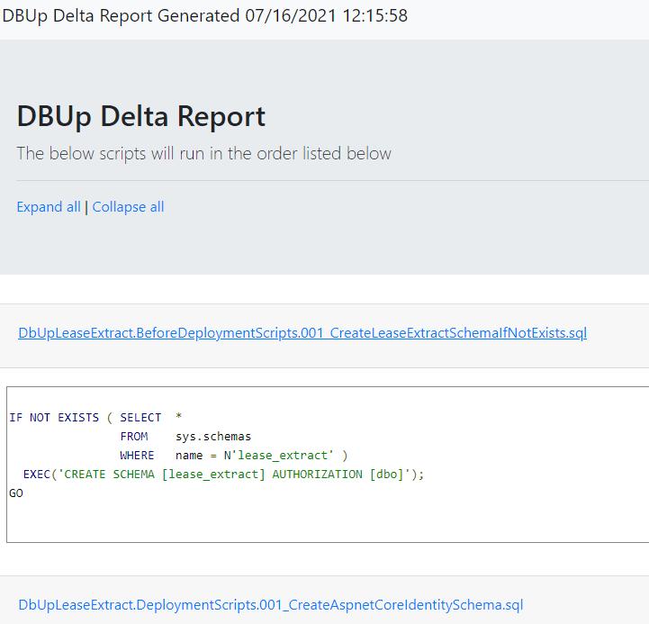 DbUp Delta Report