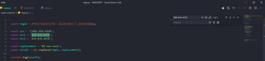 regex view in vs code