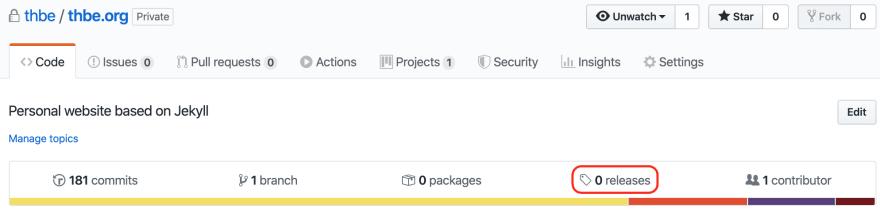Github release tab