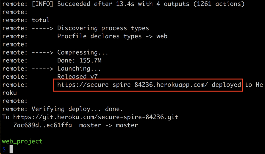 Confirmation message with web url