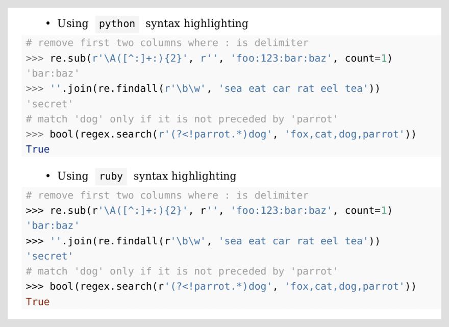 REPL syntax highlighting
