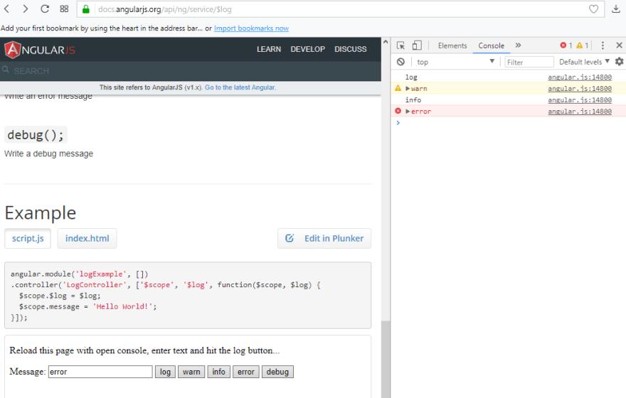 AngularJS $log
